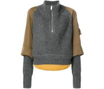 panelled zip front jumper