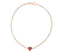 18kt gold ruby heart chain bracelet