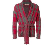 patterned belted cardigan