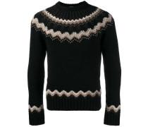 Intarsien-Pullover mit Nieten