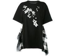 T-Shirt mit Blumen-Applikationen - women