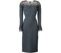 lace panel long sleeve shift dress