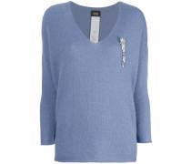 Verzierter Pullover mit V-Ausschnitt