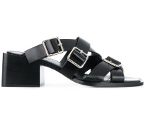 buckled strappy mules