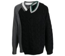 cable-knit asymmetric-collar jumper