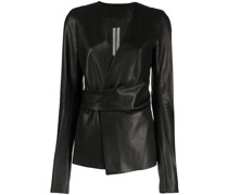 wraparound leather jacket