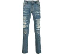 Gerade Distressed-Jeans