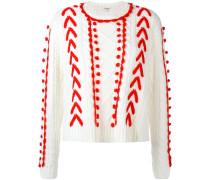 Pullover mit kontrastierendem Zopfmuster