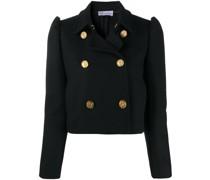 crop puff-sleeve woven jacket