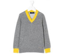 contrast v-neck collar sweater