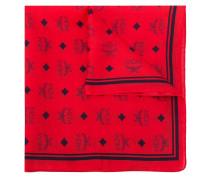 logo print silk-cotton mix scarf