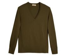 Check detail cashmere v-neck sweater