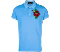 floral appliqué polo shirt