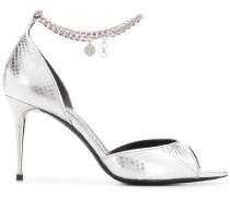 Metallic-Sandalen mit Kettenriemen