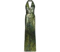 glitter effect halterneck evening dress