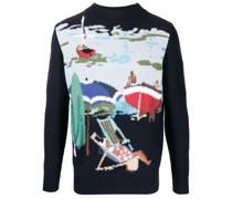 Intarsien-Pullover mit Strandmotiv