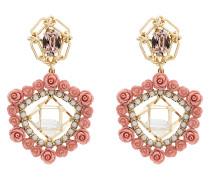 Clock crystal pearl rose earrings