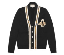 Wool cardigan with bee appliqué - Unavailable