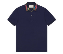- dragon embroidered collar polo shirt - men