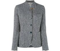 - striped standing collar blazer - women