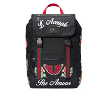 Embroidered technical canvas backpack - women