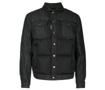 raw denim panel padded jacket