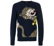 Intarsien-Pullover mit Panther-Motiv