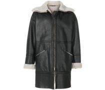 shearling-trim coat
