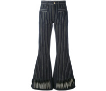 striped flared trousers - women