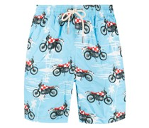 Badeshorts mit Biker-Print