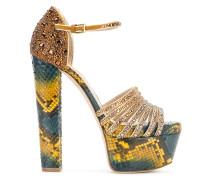 embellished snake print platform sandals
