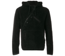 asymmetric plush fleece hoodie