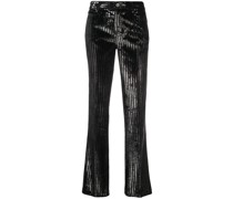 metallic striped trousers