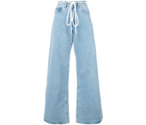 flared drawstring jeans