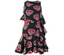 Volant-Kleid mit Mohn-Print