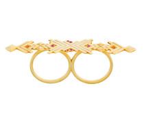 Vergoldeter Zwei-Finger-Ring