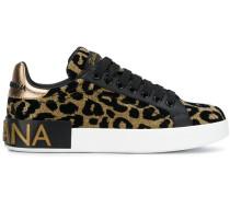 Metallic-Sneakers mit Leopardenmuster