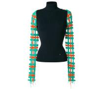 contrast sleeve turtleneck sweater