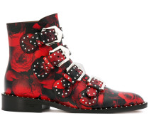 rose print buckled boots