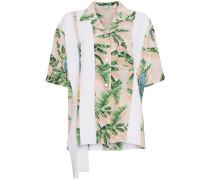Stripe and Tropical Print Shirt