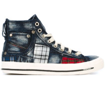 High-Top-Sneakers mit karierten Patches