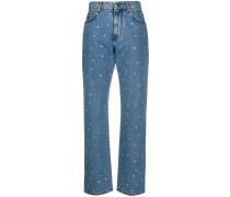 Hoch sitzende Jeans mit Kristallen