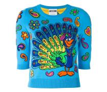 Intarsien-Pullover mit Pfauen-Print