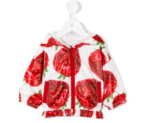 strawberry print hooded jacket - kids