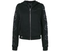 zip-up embellished hoodie