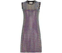 Crystal embroidered ribbed knit dress