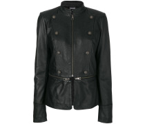 zip and button detailed leather jacket