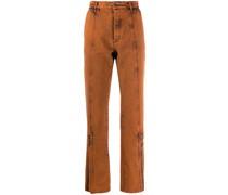 acid-wash straight leg jeans