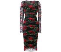 rose print ruched dress