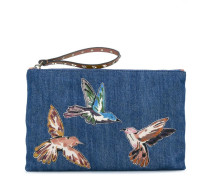 Jeans-Clutch mit Vogel-Patches - women